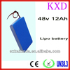 KXD lipo rechargeable 855085PL 12Ah high capacity 48v battery