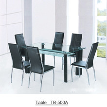 Hot selling home furniture pu leather glass dining table and chairs
