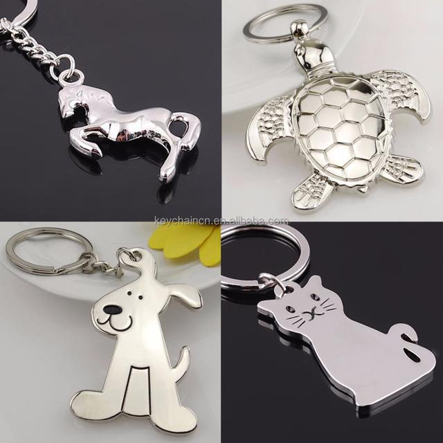 Silver Turtle Dog Horse Kitty Cat Bone Metal Key Chain Key Ring Keyfob Gift Toy