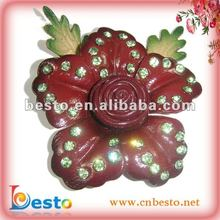 SF0217 2012 New handmade wine leather flower with green artifical diamond