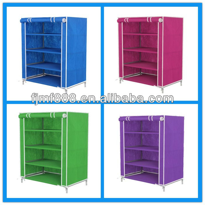 China Supplier Home Furniture Foldable 4 Tier Closed Shoe Rack
