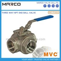 High quality fast delivery manual or gear operation flanged end and thread 3 three-way ball valve