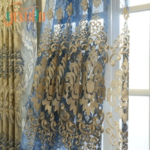 Beautiful design wholesale 100 poly jacquard printed organza window curtains