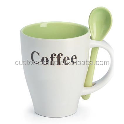 ceramic coffee mug with spoon for coffee