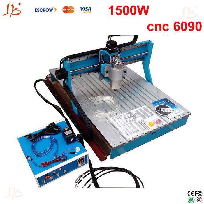 metal engraving machine CNC Router 6090 3 Axis 1.5KW water cooled spindle,marble headstone engraving machine prices