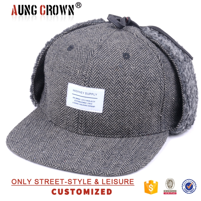 Wholesale Winter Snapback Cap With Ear Flaps