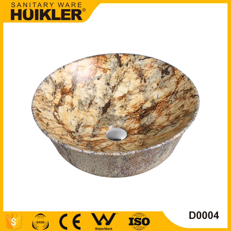 Luxury home artificial marble stone bathroom vanity vessel sink