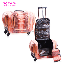 Salon 2018 new professional artist crocodile travel accessories cosmetic trolley rolling bag private label makeup train case