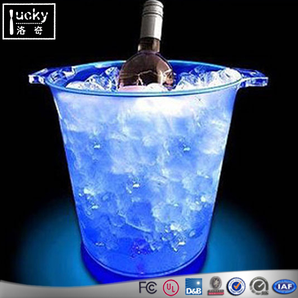 Hotel Acrylic Ice Bucket Wine Bottle Cooler Drink ,Custom Round Top
