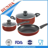 5pcs aluminium sauce pot and frypan cookware set with inner non-stick coating