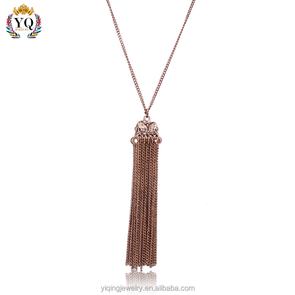 PYQ-00044 2016 new retro fashion antique bronze tassel alloy pendant necklace