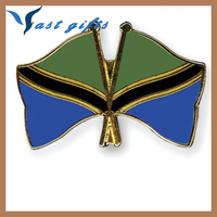 World Tanzania flag pins with gold plated