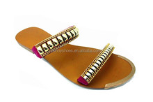 latest soft sole thong sandals lady women casual shoes with golden button