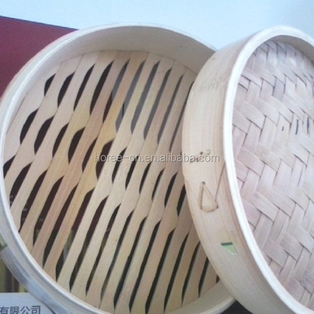 2 layer 1 cover diameter 25cm tranditional bamboo steamer made in China