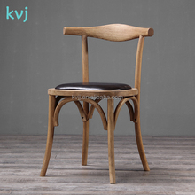 KVJ-7032-1 resturant natural wood black leather elbow x chair french european