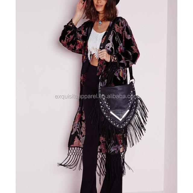 polyester / Spandex Black Burnout Velvet Kimono long top / Women's Fashion Korean Long Kimono top