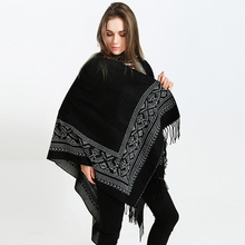 Geometric pattern double-sided tassel European thick cashmere office travel shawl