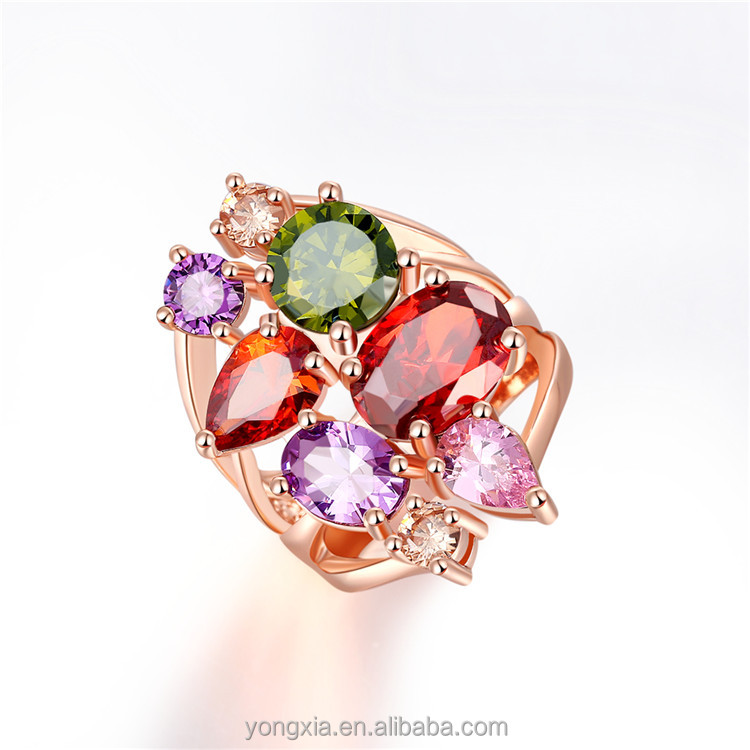 Zircon paved rose gold beautiful latest exotic rings jewelry women