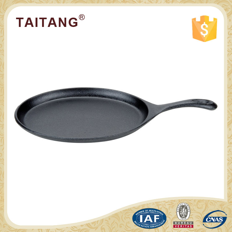 Oval Cast Iron Skillet Sizzle Plate/ Fajita Pan with Handle Kitchen Use