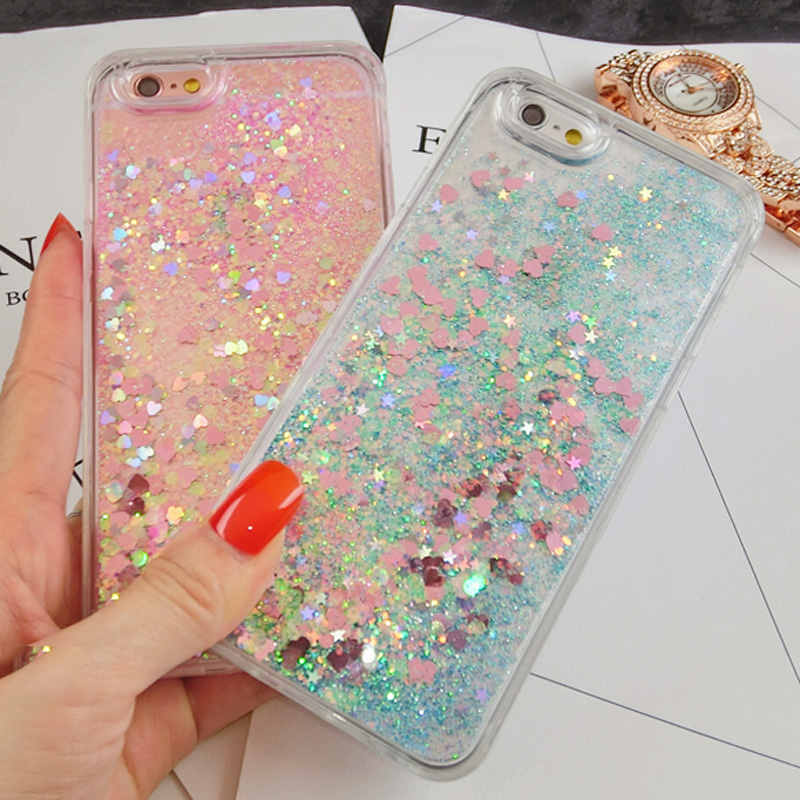 Hot sale sparkle liquid glitter mobile phone case for iphone 5 5s 6 6s 6plus 7 7plus 8 8plus X