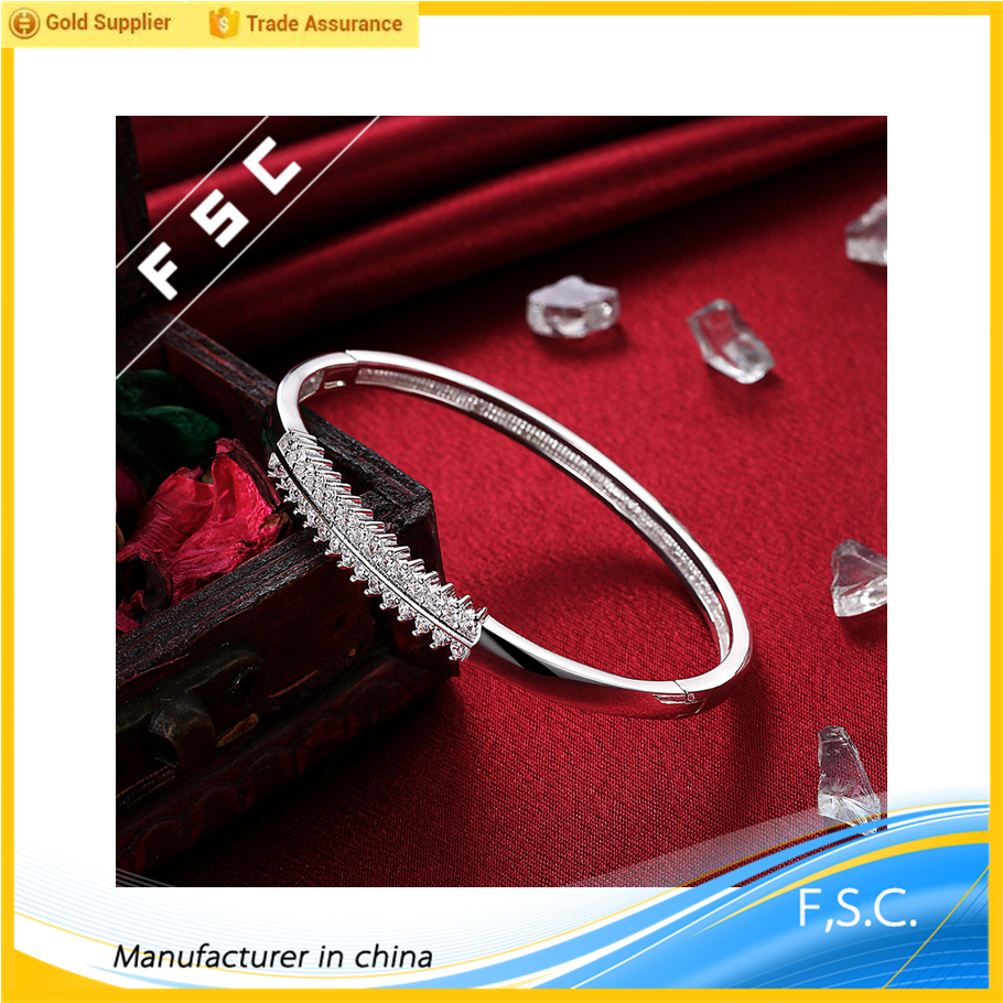 Classic handmade silver plated simple design two lines zircon bangle bracelets for women