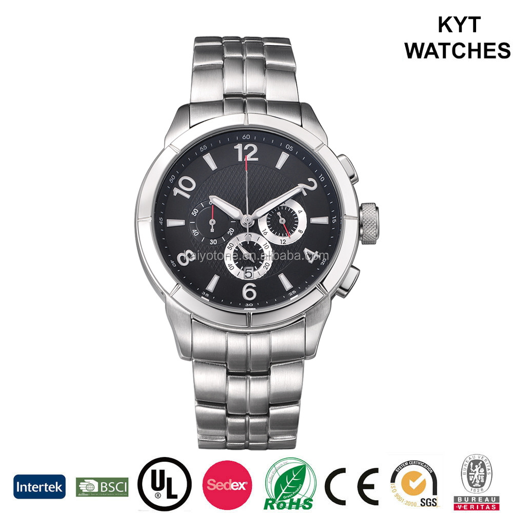 2016 vogue chronograph stainless steel bracelet watch 10atm water resistant