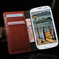 Fashion wallet crazy horse leatehr retro case for samsung galaxy s3