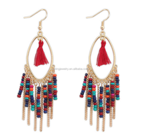 gold plated colorful seed beaded tassel earrings