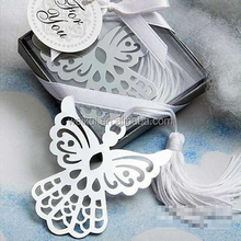 Wholesale Chinese factory custom silver stainless steel butterfly retro style commemorative bookmarks