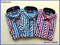 wholesales polyester/cotton check man shirt /fashion design short sleeve shirt for men