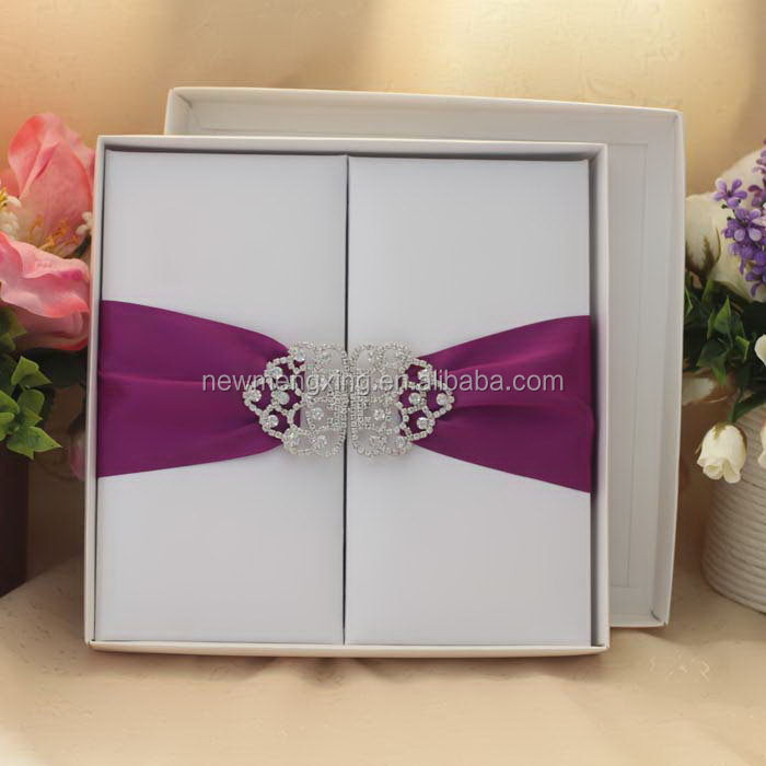 faux silk gatefold invitation boxes with brooch