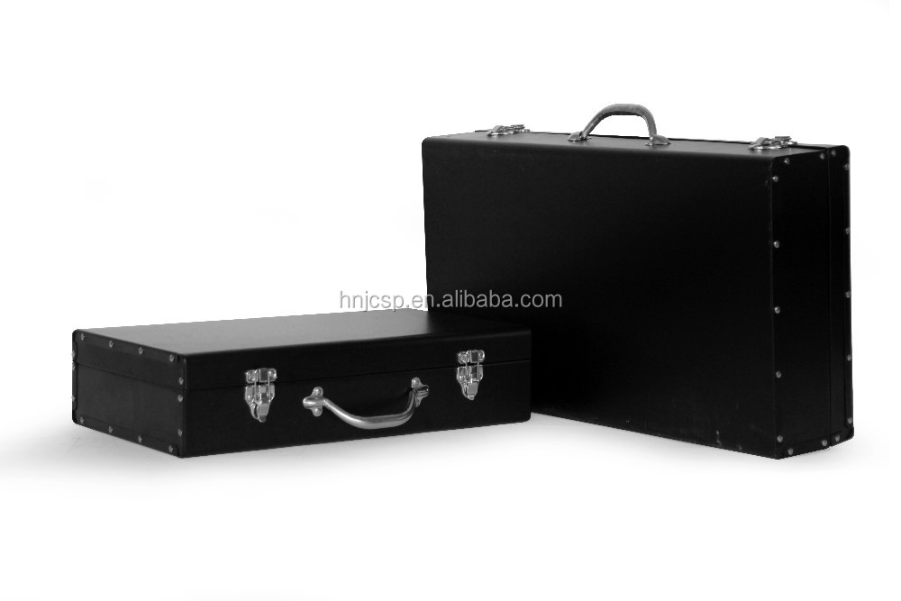 Decorative black rectangle set of 2 aluminum metal suitcase