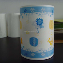 Printed PE film of diaper raw material and breathable PE film backsheet