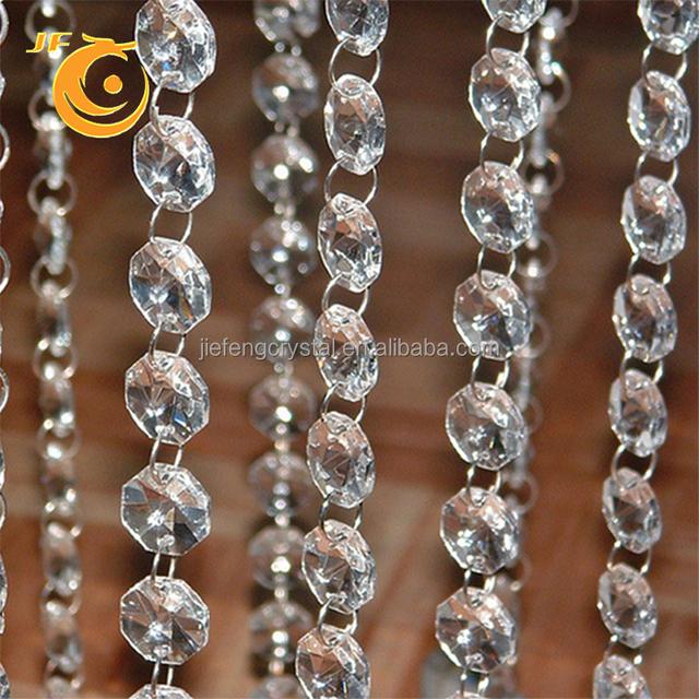 Wholesalers custom 20mm elegant modern crystal chandelier acrylic crystal bead curtain trim large hole plastic acrylic beads
