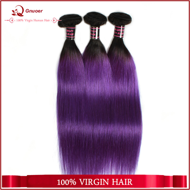 Large Stock Brazilian Omber Two Tone 1B Purple Silky Straight Wave Hairstyles Weaving