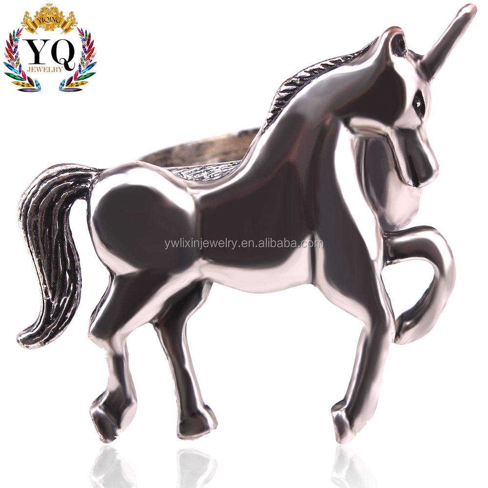 RLX-00108 wholesale factory animal unicorn jewelry unicorn ring horse ring silver plated