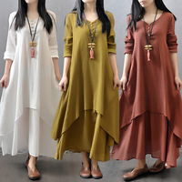 Korean Style Women Elegant Long Sleeve Dress Cotton Linen Loose Dress