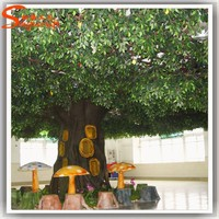 Large-scale artificial ficus tree price ancient artificial banyan tree glass ladle ficus