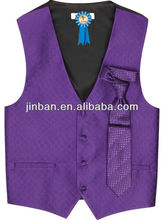 Mens polyester diamond purple vest with tie