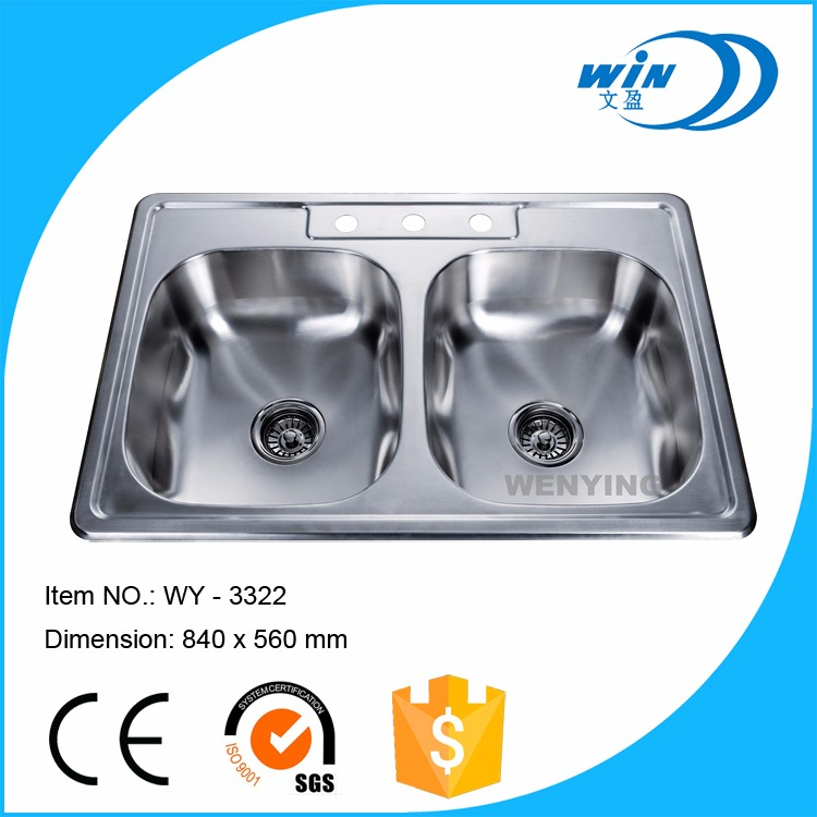 Custom size Modern cheap price large inox deep undermount double bowl sus 304 stainless steel kitchen sink basin with drainboard