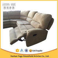 Chinese style half moon wooden sectional corner sofa single recliner sofa