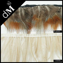 2014 new turkey feather fringe trim with satin ribbon tape
