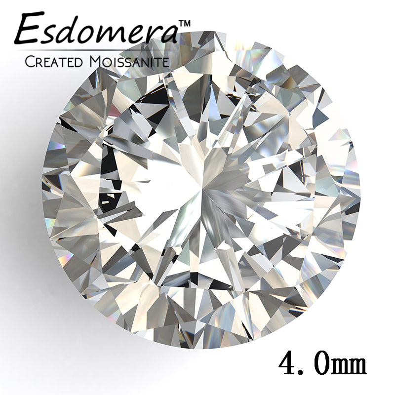4.0mm Wholesale Esdomera White Color Moissanite Loose Stones Round Brilliant Synthetic Moissanite