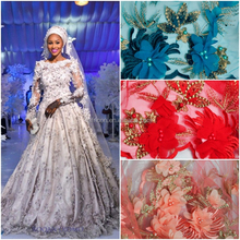NQ270 Queency Hand Embroidery 3D Flowers Designs 2017 Latest African French Net lace Tulle Fabric