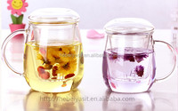 drinking tea glass cup with filter and lid/tea cup with strainer
