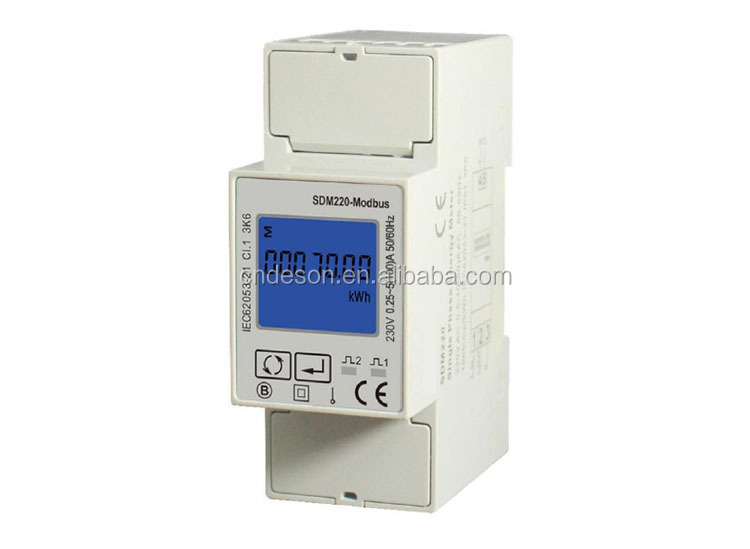 SDM220-Modbus Single Phase DIN Rail Kwh Energy meter, Pulse Output Energy Meter, RS485 Modbus Energy Meter AC230V