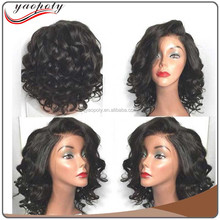 2017 new arrival human hair lace front wig virgin hair deep wave short hair