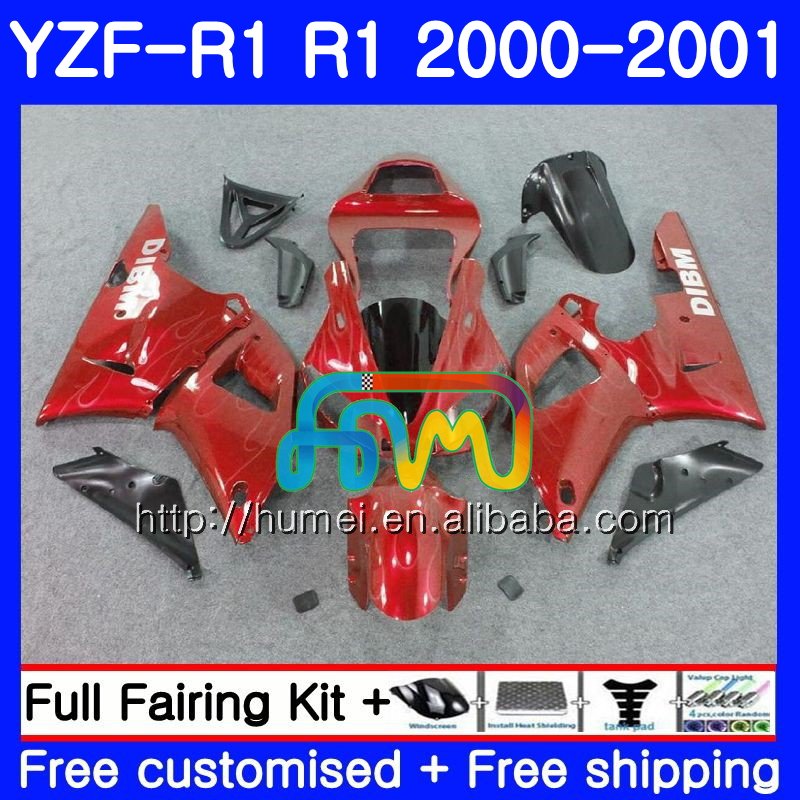 Body For YAMAHA YZF R 1 YZF 1000 red black YZF-<strong>R1</strong> 00-01 Bodywork 98HM21 YZF1000 YZF-1000 YZF <strong>R1</strong> 00 01 YZFR1 2000 <strong>2001</strong> <strong>Fairing</strong>