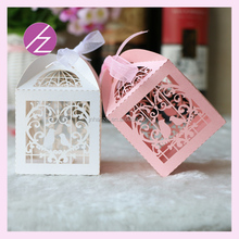 Fast shipping love birds wedding gifts for guests souvenirs boxes ,laser cut heart pink wedding gifts boxes with free ribbons