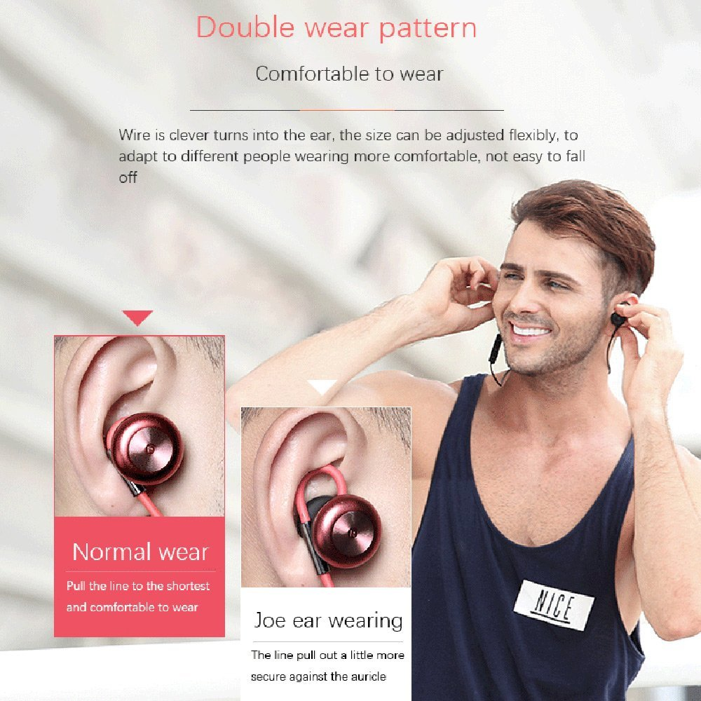 LESIRI HI-FI Stereo Bluetooth Headphone Wireless Metal Magnetic Suction Earphones for Sports & Running Workout Noise Cancelling (6)